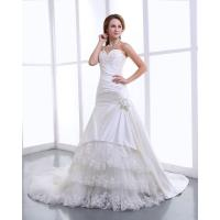 China Elegant Satin halter womens Wedding Dresses with cathedral train , Flower Lace Skirt on sale