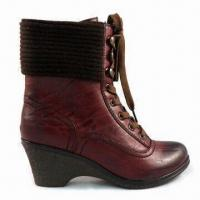 China Women's Dress Boots, Made of PU, Textile Lining and Woolen Yarn, OEM Orders are Welcome on sale