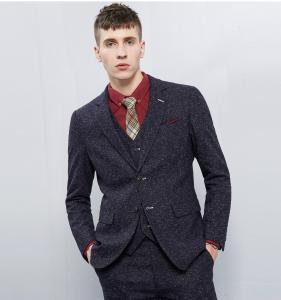 Quality Men's Casual Business Suits 3 Piece Royal Blue Slim Fit Suits OEM for sale