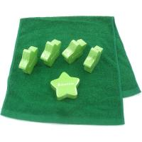 Quality Hygiene Compressed Terry Cotton Hotel Face Towel Lime Green Stars Pattern for sale
