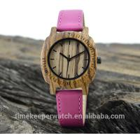 Buy cheap leisure time wood watches ,can make in water proof ,genuine leather watch strap from wholesalers