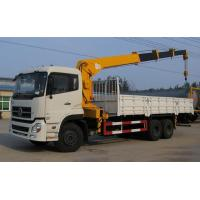 Quality Dongfeng 6x4 Used Crane Truck White Body Yellow Lazy Arm For Hang On Heavy Goods for sale