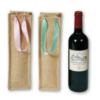 China Small Home Decor Textiles , Jute Wine Bags With PP Webbing Handle on sale