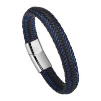 China Braided Leather Bracelets For Men,Leather Bracelets Fashion Magnetic Clasp 7.5-8.5 Inch on sale
