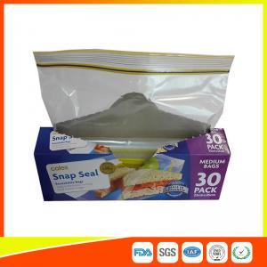 Quality Supermarket Reuseable Plastic Clear Sandwich Bags Zipper Top 22 * 25cm for sale