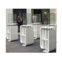 Shining White Coating Custom Glass Display Cases With High Pole LED Lights