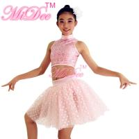 China Ballet Jazz And Belly Dancing Clothes Sequin High Neck Sleeveless Prints Skirt Figure Skating Competition Dress on sale