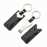 Quality Key Leather USB Flash Drive (Genuine Leather/Metal), with Embossed/Printed/Laser Engraved Logo for sale