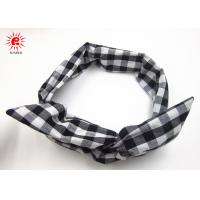 Buy cheap White Black Rabit Ear Hair Scrunchie Grid Fabric Folding Metal Cute Hair Bands from wholesalers