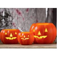 Quality Led Pumpkin Candle With Yellow Light , Plastic Outdoor Pumpkin Lights for sale