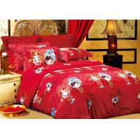 Buy Eco-Friendly Reactive Dye Floral Bedding Sets Red for Traditional Wedding at wholesale prices