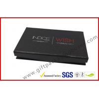 China rigid board cosmetic packaging box with mirror , black box with plastic inner logo foil on sale