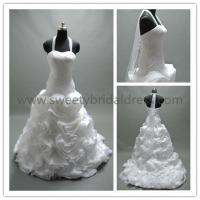Quality Ball Gown Halter Ruffles Chapel Train Organza Wedding Dress LT2135A for sale