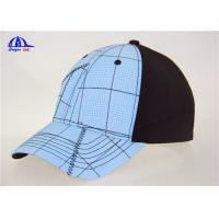 Quality Cotton Black and Light Blue Custom Baseball Caps , Washed Man Baseball Cap for sale