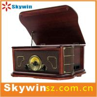 China 2014 portable  Best Retro solid wooden 7 in 1 turntable player  with cassette /radio/USB on sale