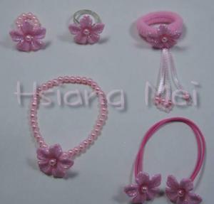 China Pink Flower Bracelet / Rings / Ponytail Holder on sale