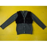 Buy cheap Chic Girls Cardigan Sweaters , Faux Fur Blocked Chest Girls Button Down Sweaters from wholesalers