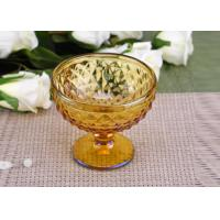 Quality Yellow Stemware popular wedding glass candle holders Bowl Shape for sale