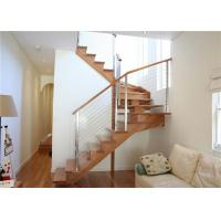 Quality Polished Building Railing , Indoor Stainless Steel Cable Stair Railing With Wood Handrail for sale