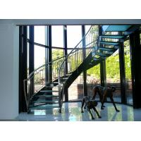 Quality Interior glass tread curved staircase with stainless steel/ carbon steel stringer for sale