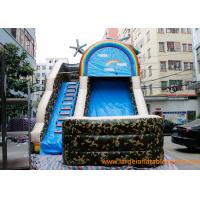 Quality inflatable bouncer ,PVC Tarpaulin Camo Slide / Commercial Inflatable Dry Slide With Logo Printing for sale