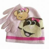 Quality Acrylic Kid's Beanie and Gloves Set with Embroidery Logo, BSCI Audit for sale