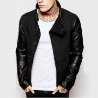 Quality Stand Collar Leather Sleeve Mens Flight Jacket Cotton Denim Biker Jacket Breathable for sale