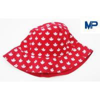 Quality Fashion 100% Polyester Printed Bucket Hats , Floral Bucket Hat Red Color for sale