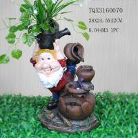 Quality Garden Landscape Dwarf Polyresin Water Fountain Pot Design , Red And Brown Color for sale
