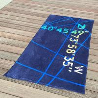Quality Multi Stripe Navy Printed Beach Towels With Longitude Latitude Monogrammed for sale