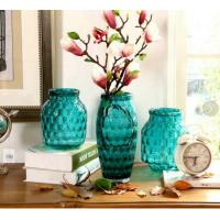 China Solid Color Blue Glass Flower Vase Lead Free For Decorative Small Round Ball Outside on sale