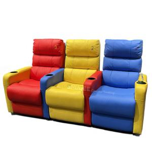 Quality Factory 3D Colorful Home Cinema Sofa VIP Leather Theater Seat With Electric Recliner for sale