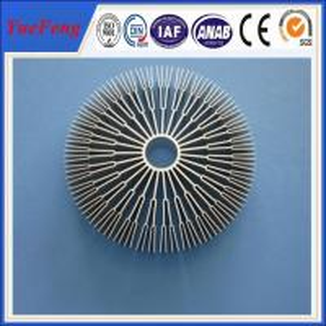 Quality Aluminum alloys round 6082/ OEM sunflower heat sink,round aluminum extrusion heatsink for sale