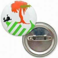 Quality 40mm Tin Button Badges with Offset Printing Logo and Safety Pin on Back for sale