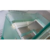 Quality Glass railing with stainless steel standoff / patch fitting for staircase for sale