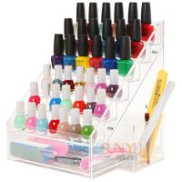 Quality 6 Tiers Acrylic Nail Polish Stand Shelving Customized Transparent 200Pcs for sale