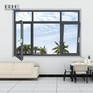 Quality Swing Dark Brown Aluminium Windows / Hotel Aluminium Casement Windows for sale