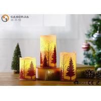 Quality S/3 Glittering Christmas Tree Decorative Candles LED Christmas Pillar Candles for sale