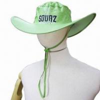 Quality Light Green Foldable Cow-Boy Hat, Made of Polyester, with Silkscreen Printing Logo for sale