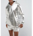 Quality Sliver Foil Windproof Mens Overhead Jacket , Reflective Hooded Windbreaker for sale