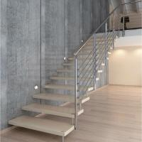 Buy cheap Clear glass railing floating stair with solid rod railing from wholesalers