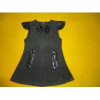 Quality Cap Sleeves Little Girls Winter Dresses Leather Blocked Bows A Line Kids Woolen Dress for sale
