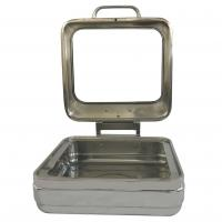 China Mirror Finish Square Shape Banquet Chafing Dishes With Big Glass Lid For Hotel Supplies on sale