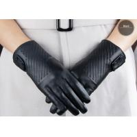 China Black Fashion Short Women's Leather Gloves With Button Belt , Sheep Lambskin Leather on sale