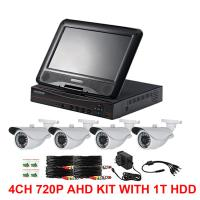 Quality 4CH 720P AHD camera kits with 10.1inch LCD screen AHD DVR 3 IN ONE for sale