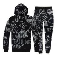 Quality Full White Printing Mens Jogging Suits , Mens Gym Tracksuit Anti Pilling for sale