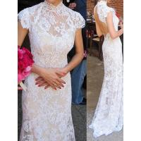 Quality NEW!! Mermaid wedding dress cape sleeves Keyhole back Bridal gown #powdn14077 for sale