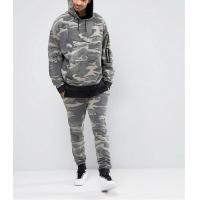 Quality Washed Camo Printed Mens Hooded Tracksuit / Mens Running Tracksuit Autumn for sale