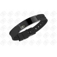 Quality Health Stainless Steel Bracelets Bio Ionized Magnetic PVD IP Black Silicone for sale