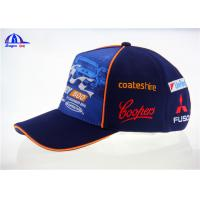 Quality Ottoman And Polyester Sublimation Racing Baseball Caps With Flat Embroidery Logo for sale